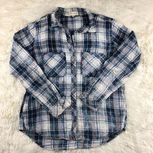 Cloth & stone marbled plaid shirt